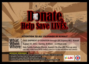 LBC Express volunteered its cargo services by shipping free of charge to the Philippines thousands of boxes full of goods donated by our fellow Filipinos