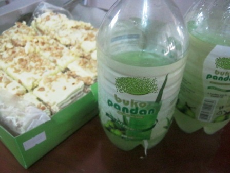 Mouth watering sansrival and buko pandan juice.