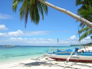 White sand beaches in Boracay.