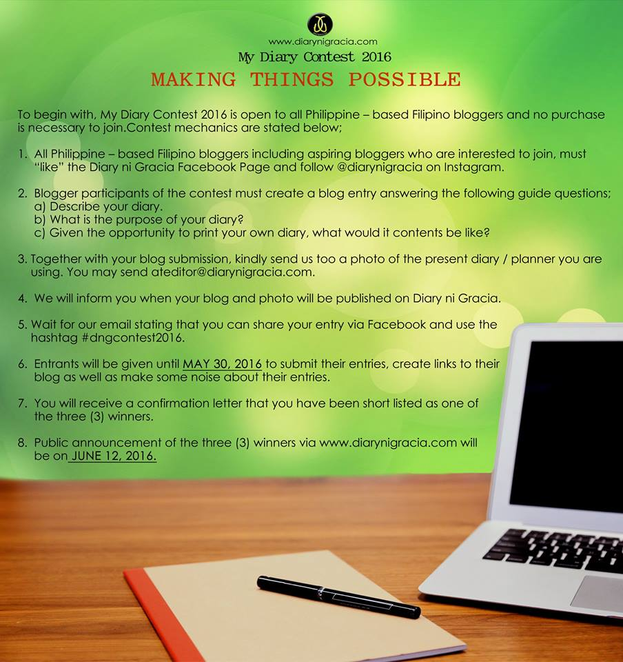 My Diary Contest 2016 mechanics made easier for you to join. Kindly read the blog below.