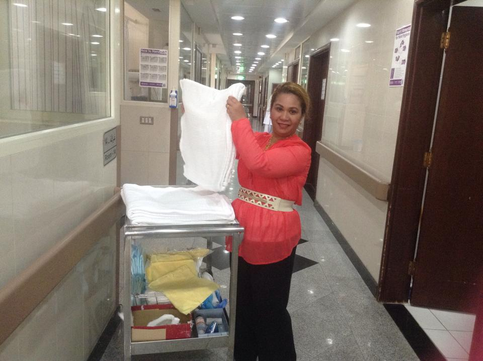 """My new job - hospital housekeeping"", says Ms. Glenn on her social media account."