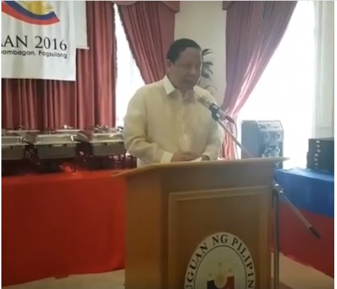 His Excellency, Ambassador Renato Pedro O. Villa in his speech after the Flag Raising Ceremony for Kalayaan 2016.