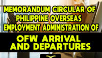 Memorandum Circular of Philippine Overseas Employment Administration for OFWs Arrival and Departures