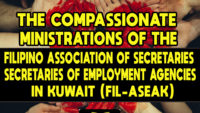 The Compassionate Ministrations of the Filipino Association of Secretaries of Employment Agencies in Kuwait (FIL-ASEAK)
