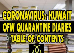 CORONAVIRUS: Kuwait OFW Quarantine Diaries – TABLE OF CONTENTS