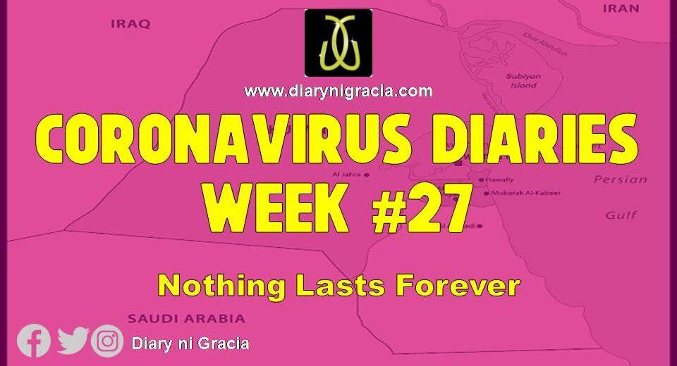 CORONAVIRUS DIARIES Week #27: Nothing Lasts Forever