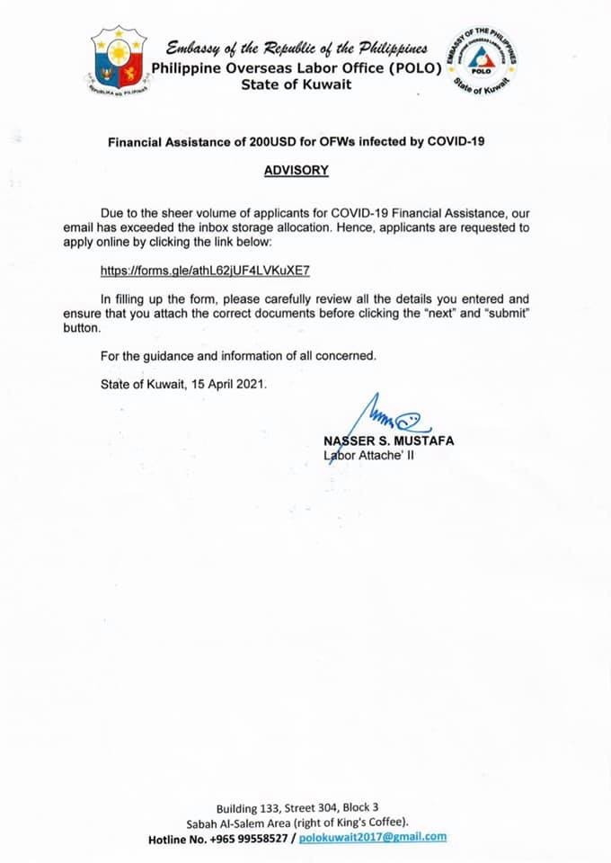 Financial Assistance for OFWs infected by COVID-19 in Kuwait